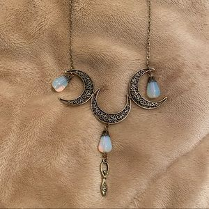 Crystal/Opal Moon Necklace